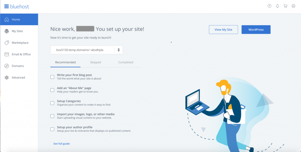bluehost hosting sign up screenshot